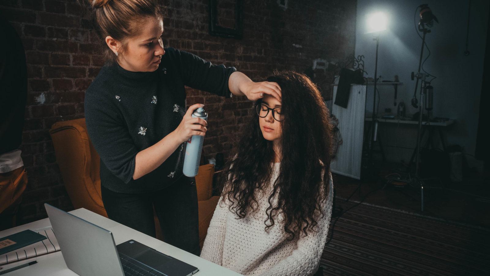 Укладака волос перед дублем