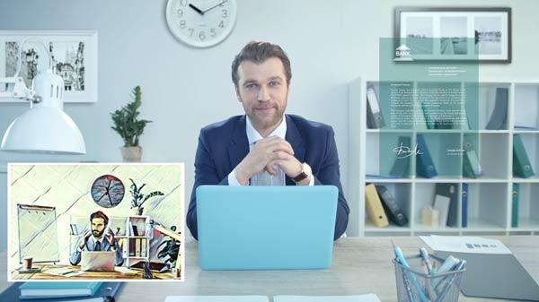 Кадр рекламного ролика для финансовой компании