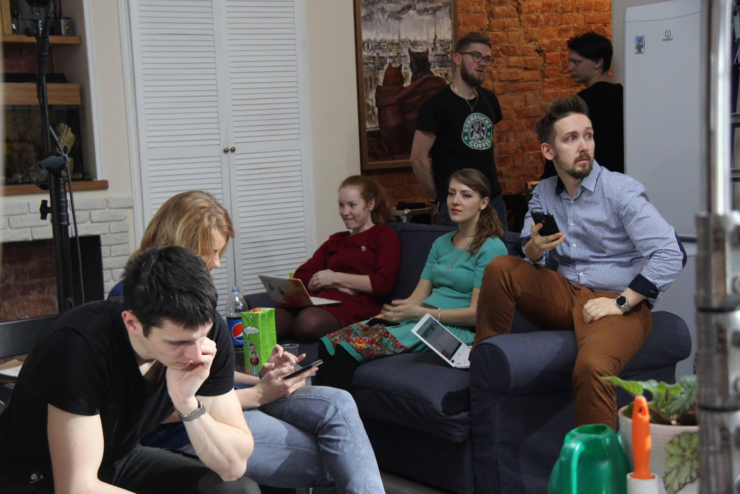 Вся съемочная команда в сборе на ролике для Партии еды