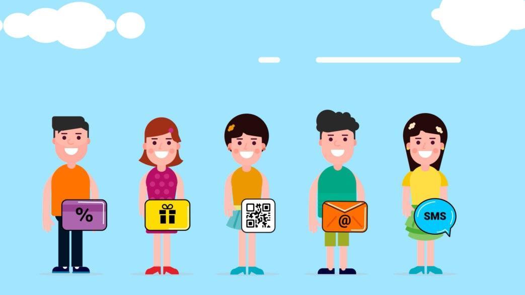 Кадр из шейпового ролика для компании Qasl где изображены 5 человек на фоне неба